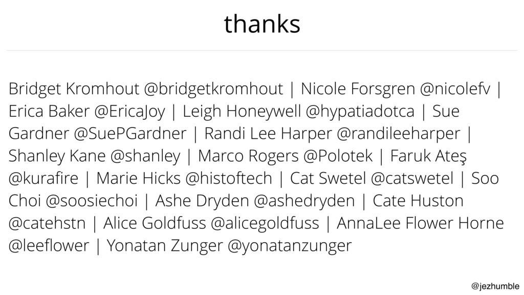 @jezhumble thanks Bridget Kromhout @bridgetkrom...