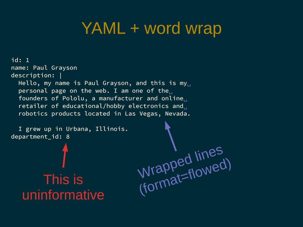 YAML + word wrap id: 1 name: Paul Grayson descr...
