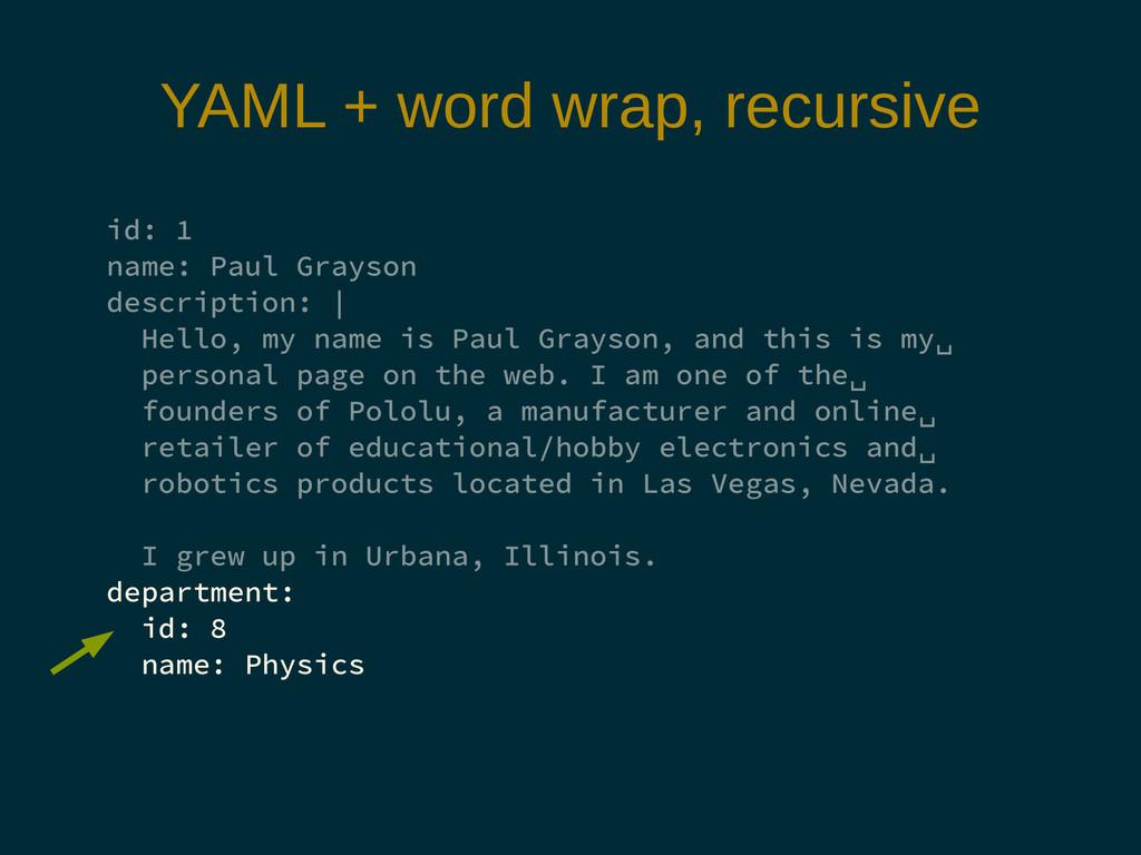 YAML + word wrap, recursive id: 1 name: Paul Gr...