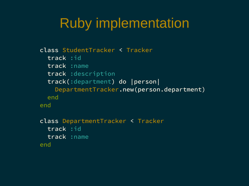 Ruby implementation class StudentTracker < Trac...
