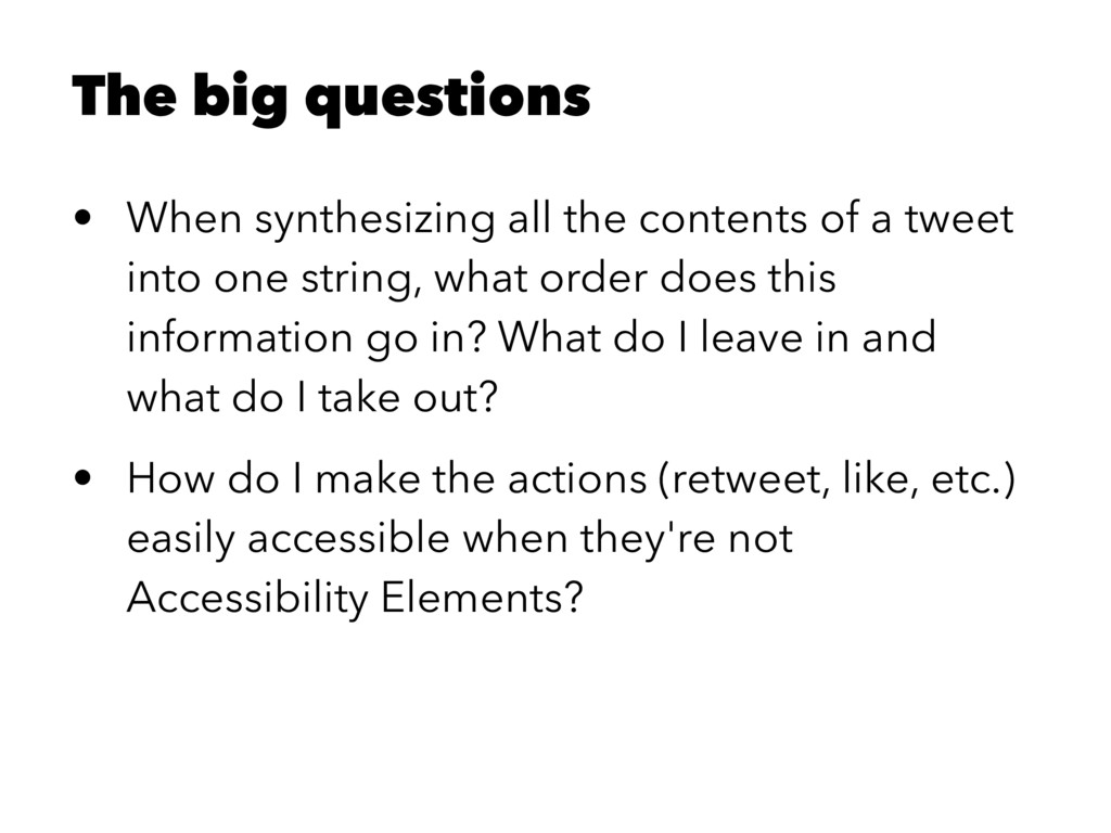 The big questions • When synthesizing all the c...