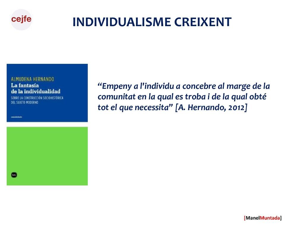 """INDIVIDUALISME CREIXENT """"Empeny a l'individu a ..."""