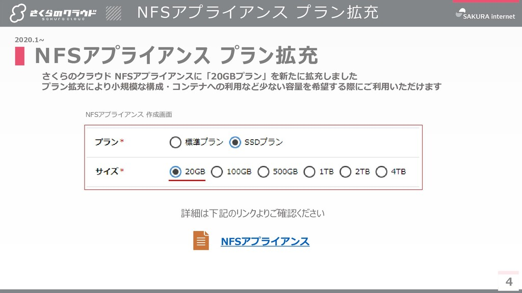 4 NFSアプライアンス プラン拡充 ▌NFSアプライアンス プラン拡充 4 2020.1~ ...