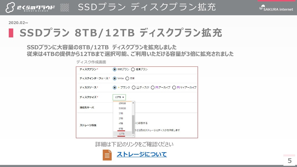 5 SSDプランに大容量の8TB/12TB ディスクプランを拡充しました 従来は4TBの提供か...