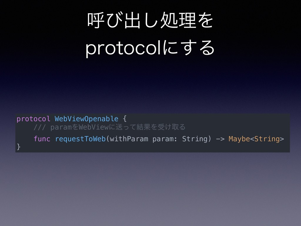 ݺͼग़͠ॲཧΛ QSPUPDPMʹ͢Δ protocol WebViewOpenable {...