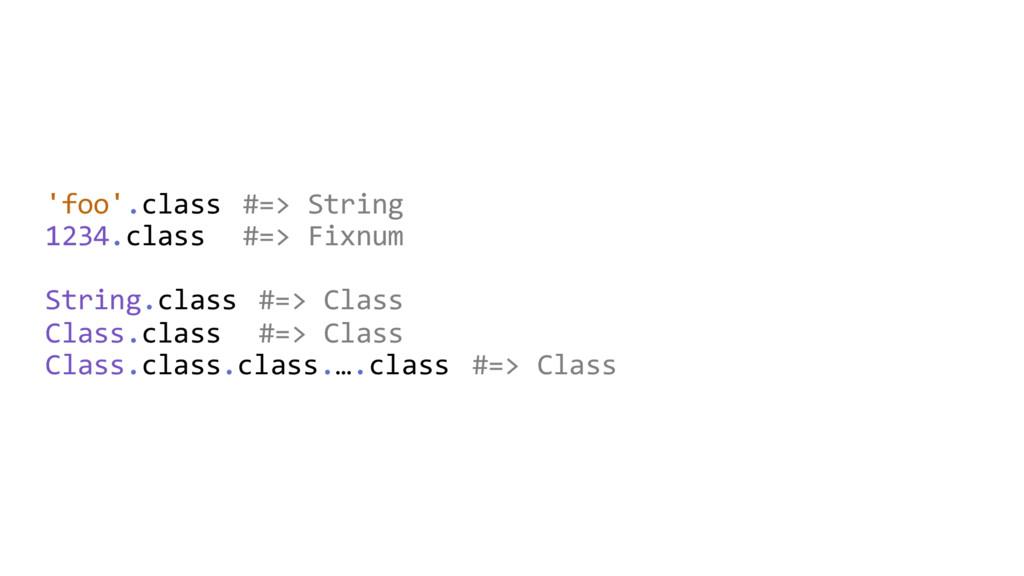 'foo'.class #=> String 1234.class #=> Fixnum St...