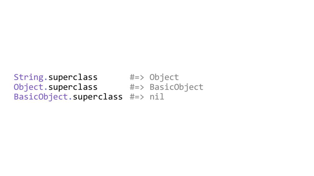 String.superclass #=> Object Object.superclass ...