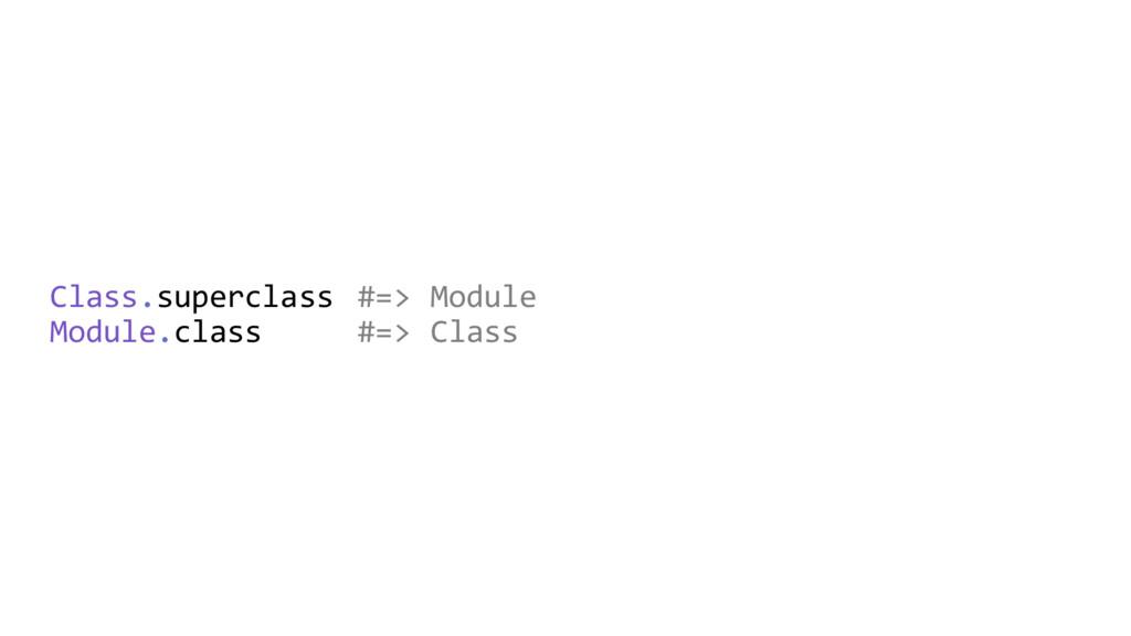 Class.superclass #=> Module Module.class #=> Cl...