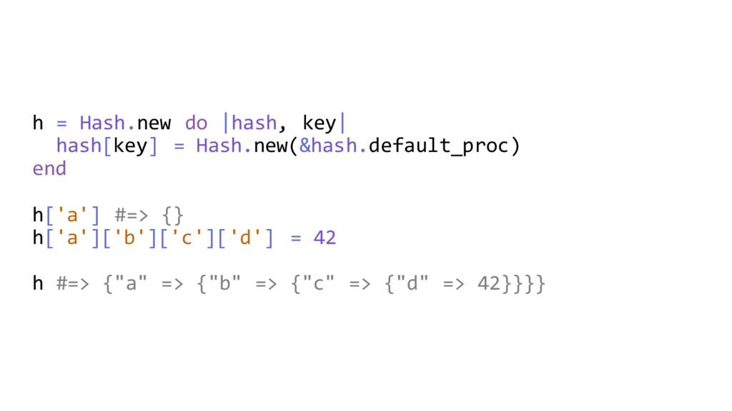 h = Hash.new do  hash, key  hash[key] = Hash.ne...