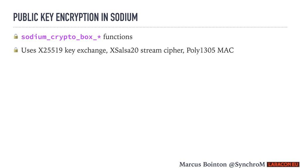 PUBLIC KEY ENCRYPTION IN SODIUM  sodium_crypto_...