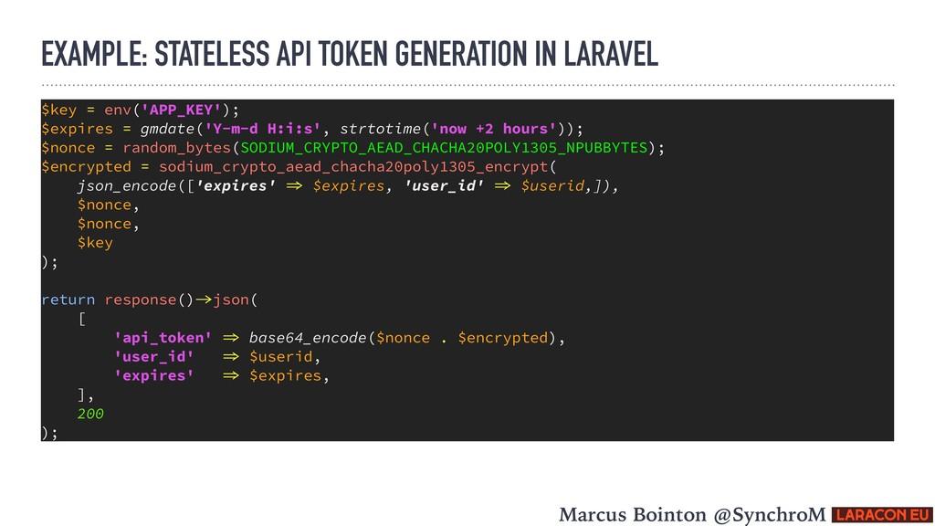 EXAMPLE: STATELESS API TOKEN GENERATION IN LARA...