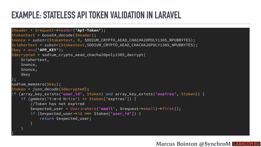 EXAMPLE: STATELESS API TOKEN VALIDATION IN LARA...