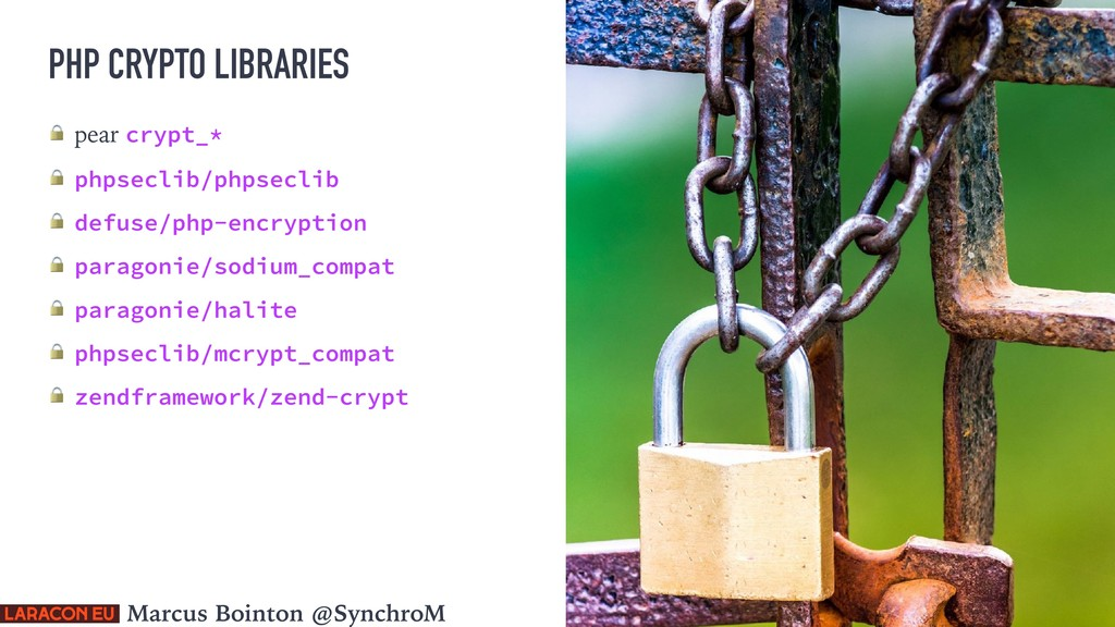 PHP CRYPTO LIBRARIES  pear crypt_*  phpseclib/p...