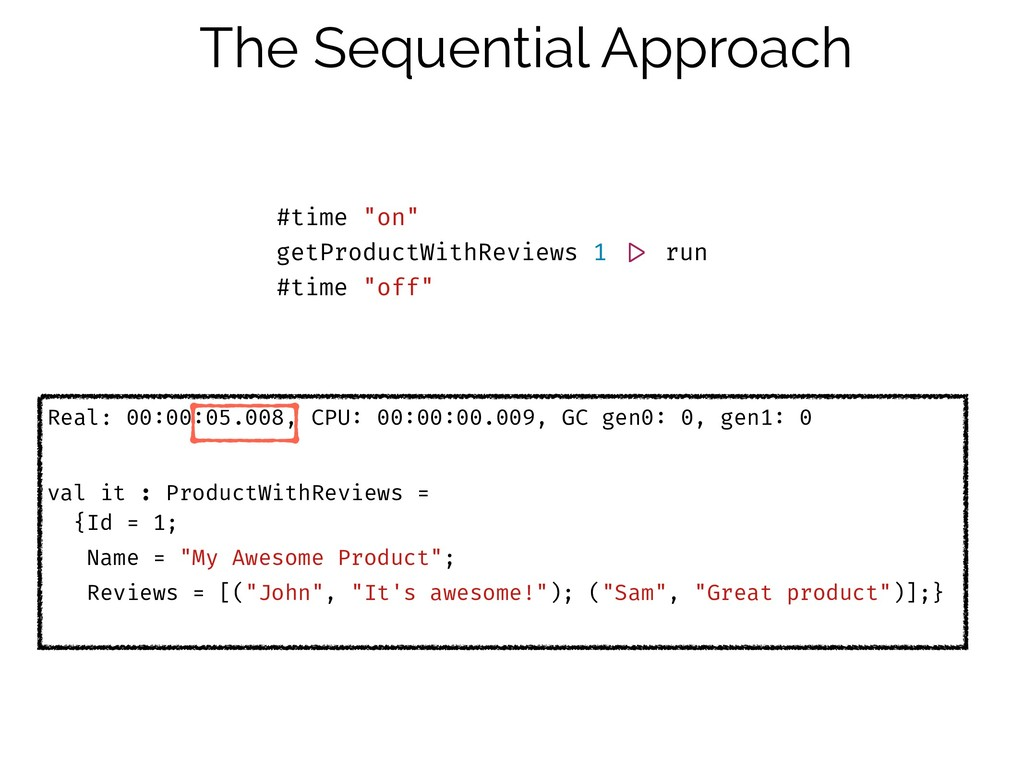 """The Sequential Approach #time """"on"""" getProductWi..."""