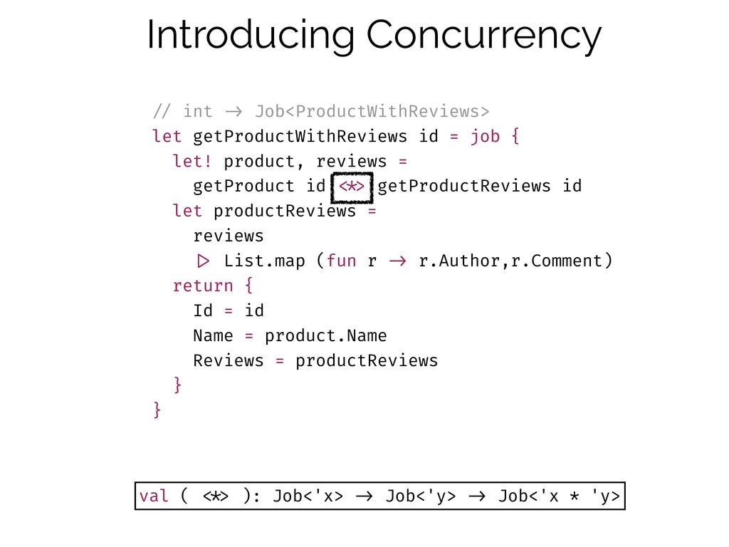 Introducing Concurrency !// int !-> Job<Product...