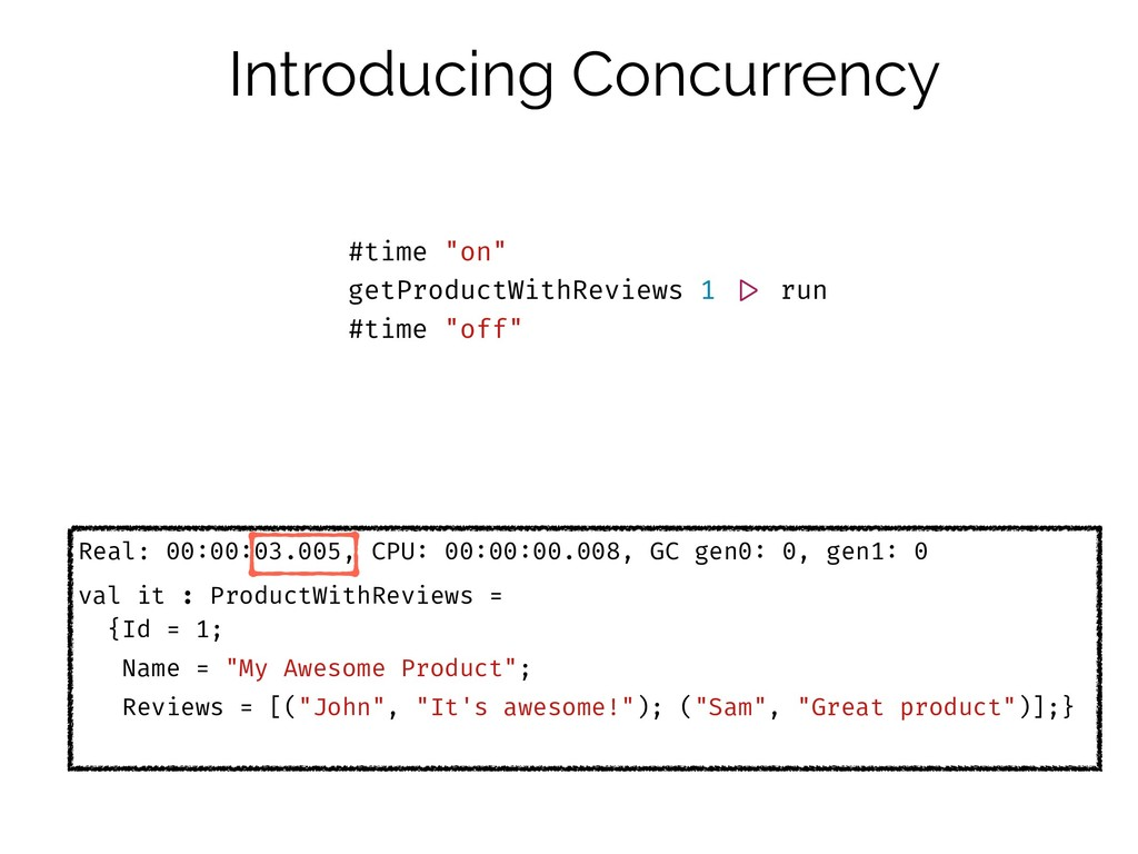 Introducing Concurrency Real: 00:00:03.005, CPU...
