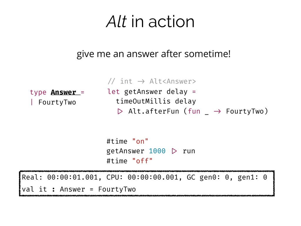 Alt in action give me an answer after sometime!...