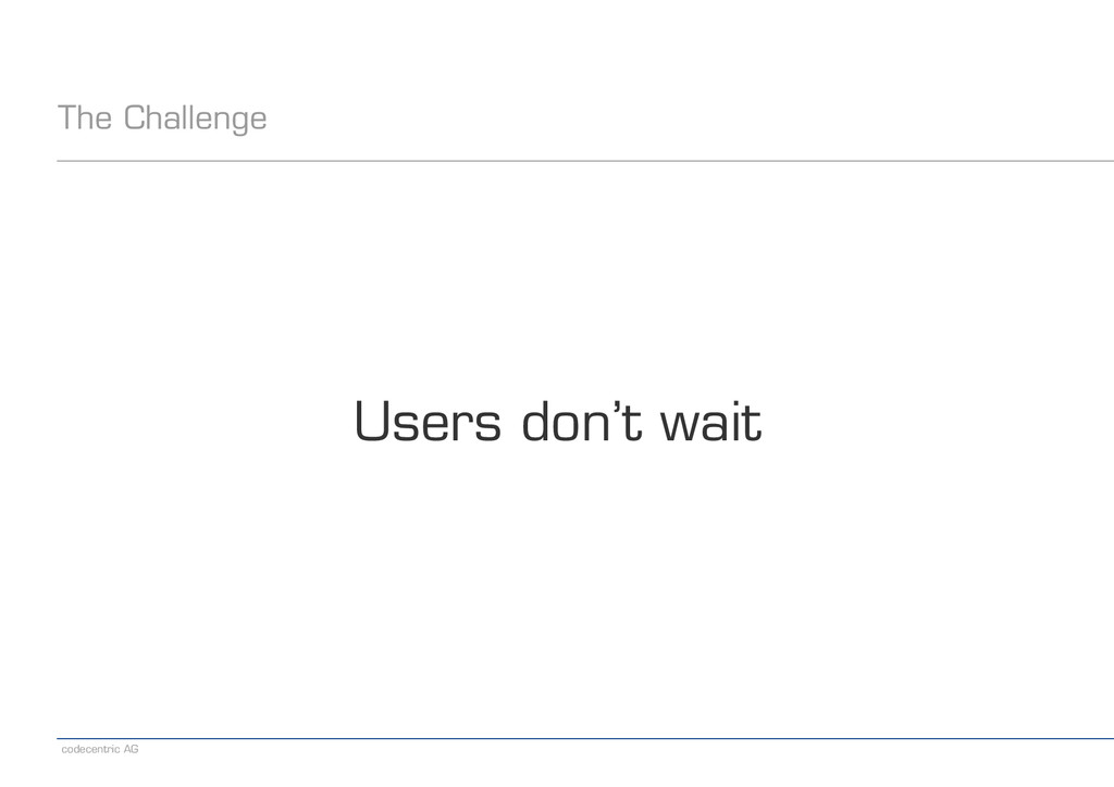 codecentric AG The Challenge Users don't wait