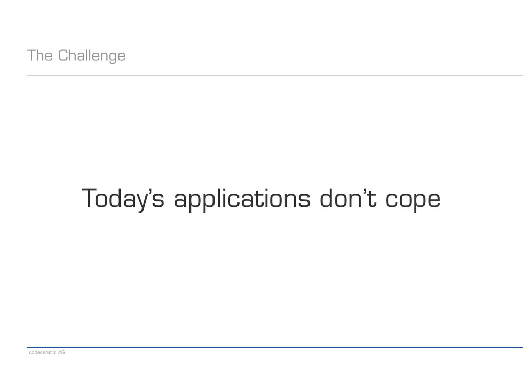 codecentric AG The Challenge Today's applicatio...