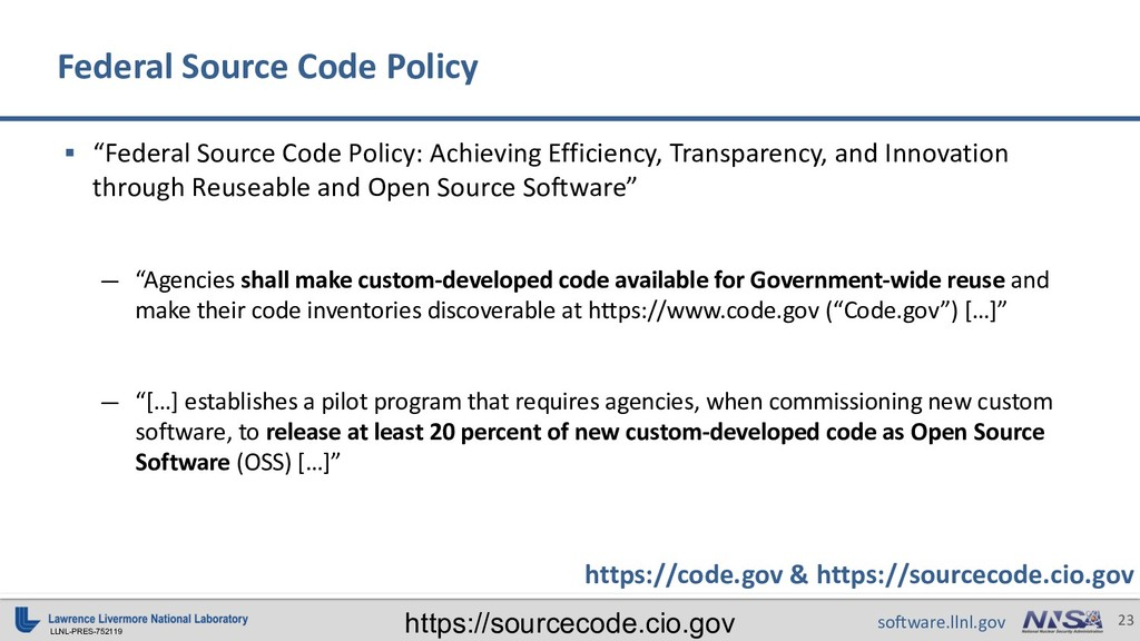 "LLNL-PRES-752119 23 software.llnl.gov § ""Federa..."
