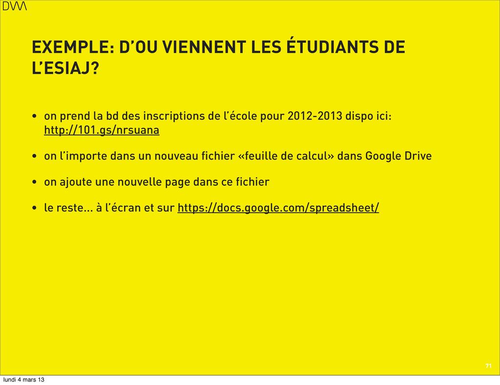 EXEMPLE: D'OU VIENNENT LES ÉTUDIANTS DE L'ESIAJ...
