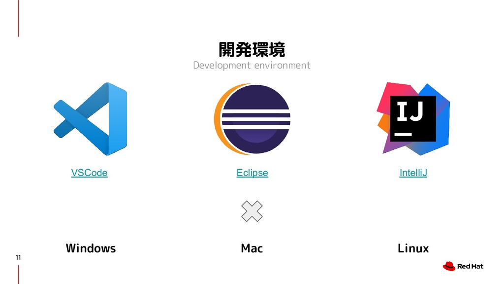 開発環境 Development environment 11 VSCode Eclipse ...