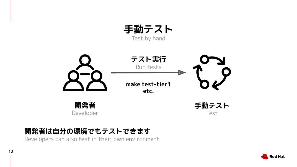 手動テスト Test by hand 13 開発者は自分の環境でもテストできます Develo...