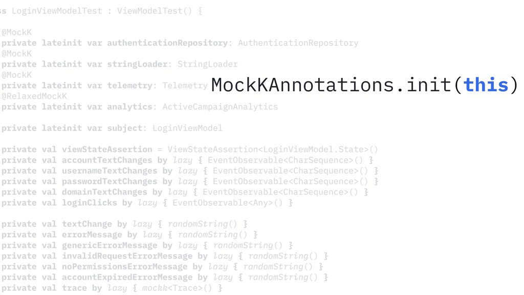 ss LoginViewModelTest : ViewModelTest() { @Mock...