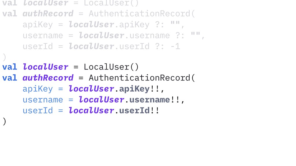 val localUser = LocalUser() val authRecord = Au...