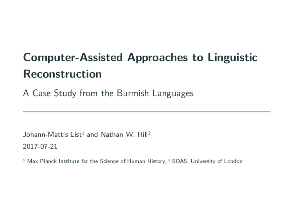 Computer-Assisted Approaches to Linguistic Reco...