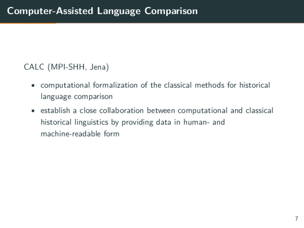Computer-Assisted Language Comparison CALC (MPI...