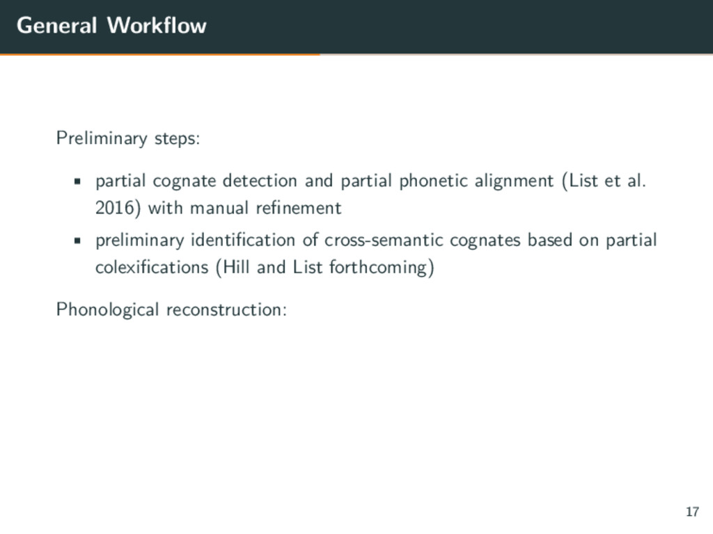 General Workflow Preliminary steps: • partial c...