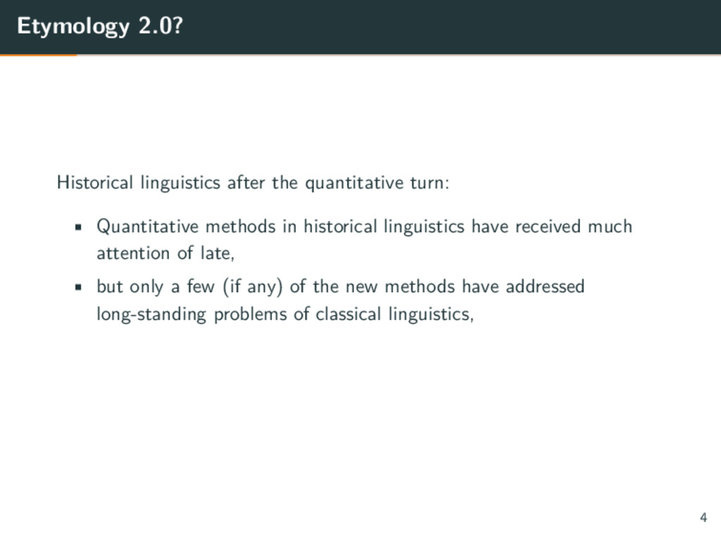Etymology 2.0? Historical linguistics after the...