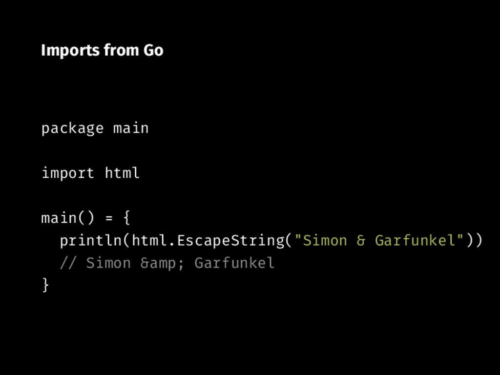 Imports from Go package main import html main()...