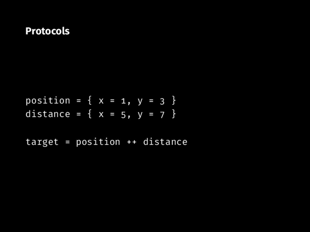 Protocols position { x , y } distance { x , y }...