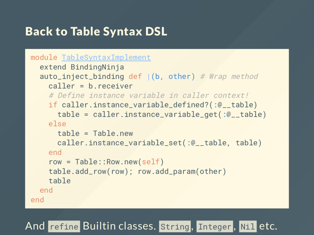Back to Table Syntax DSL module TableSyntaxImpl...