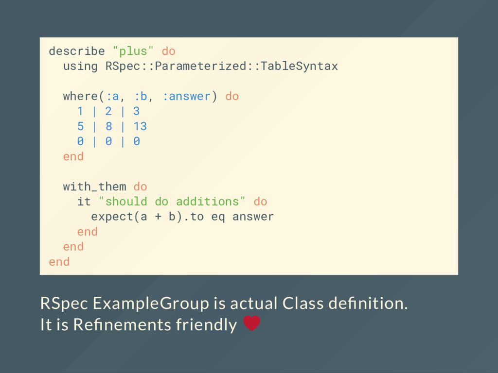"describe ""plus"" do using RSpec::Parameterized::..."
