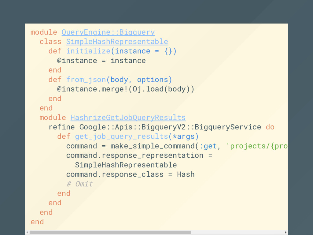 module QueryEngine::Bigquery class SimpleHashRe...