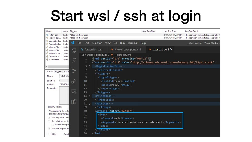 Start wsl / ssh at login