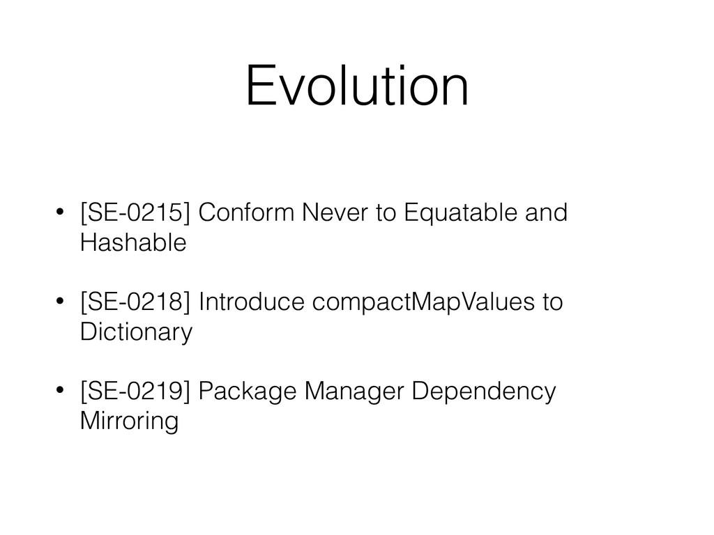 Evolution • [SE-0215] Conform Never to Equatabl...