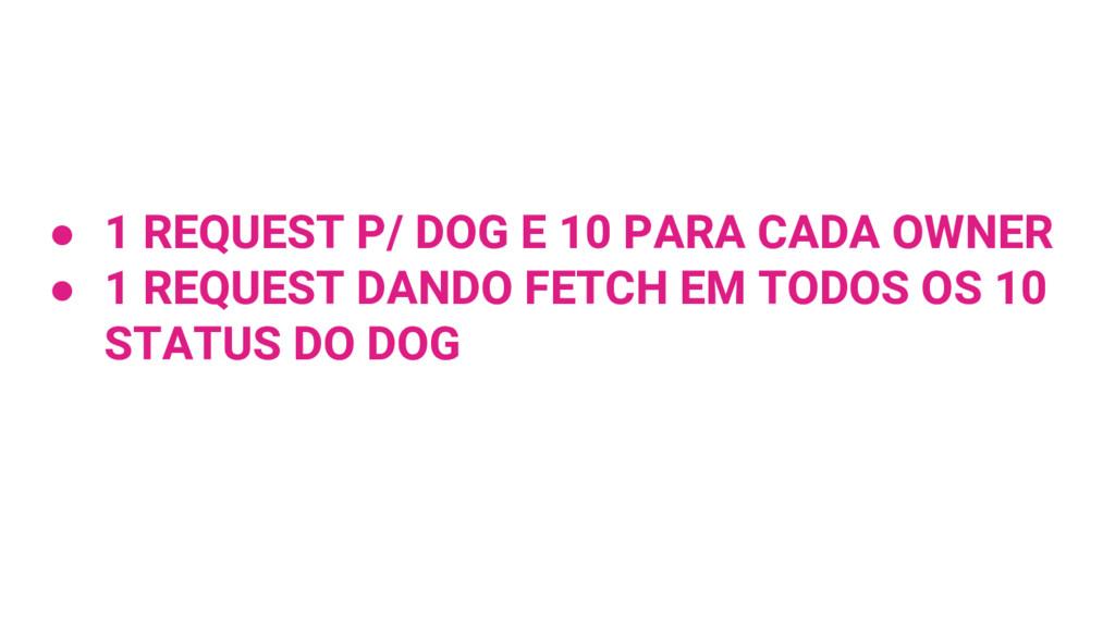 ● 1 REQUEST P/ DOG E 10 PARA CADA OWNER ● 1 REQ...