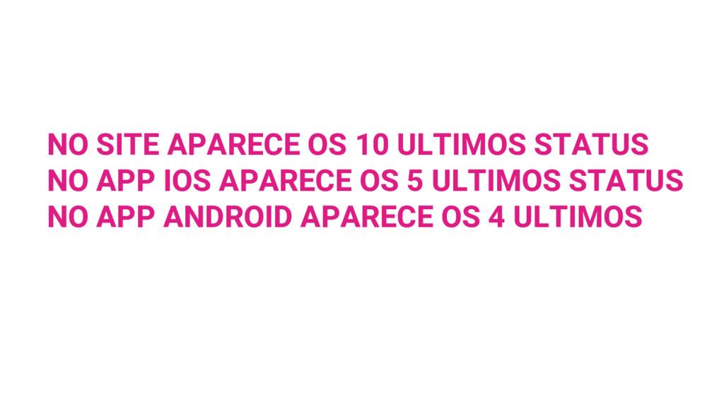 NO SITE APARECE OS 10 ULTIMOS STATUS NO APP IOS...