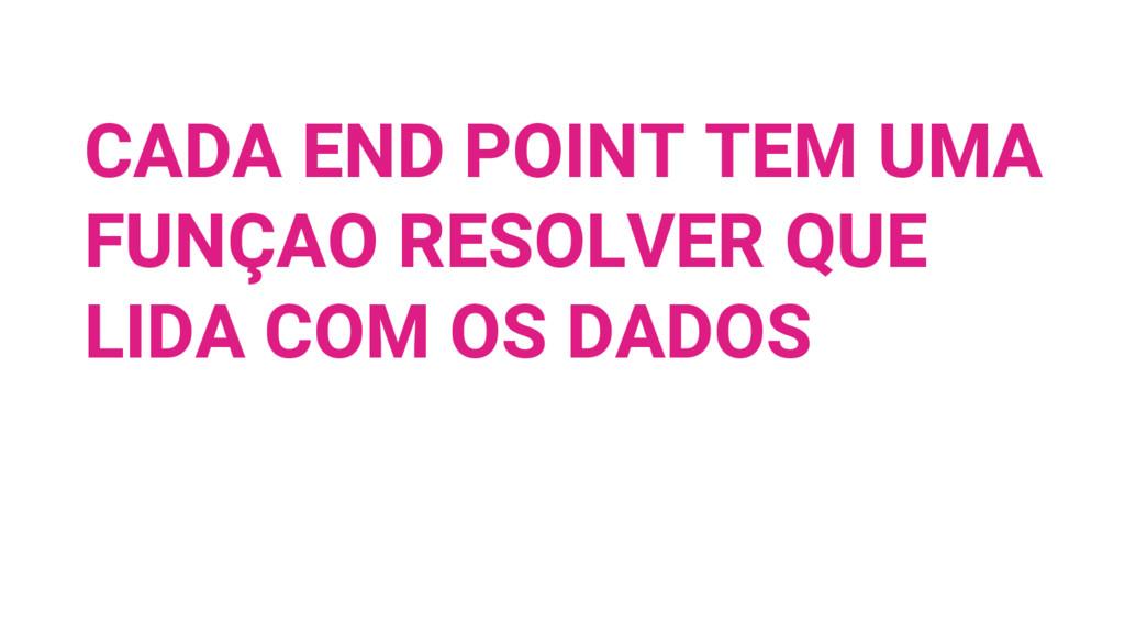 CADA END POINT TEM UMA FUNÇAO RESOLVER QUE LIDA...
