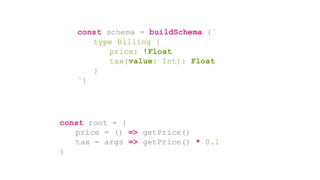 const schema = buildSchema {` type Billing { pr...