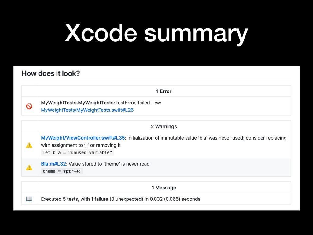 Xcode summary