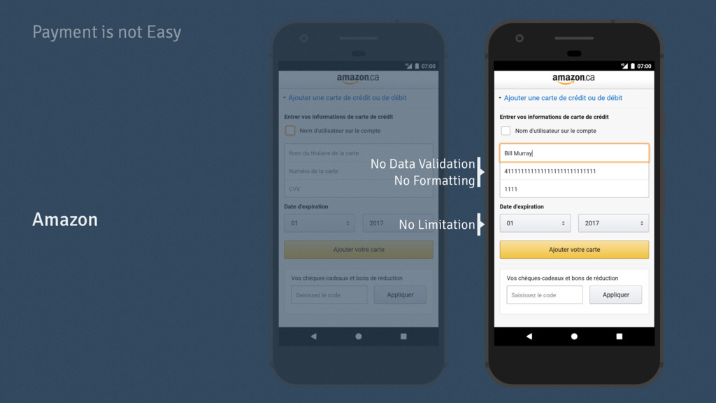 Payment is not Easy Amazon No Data Validation N...