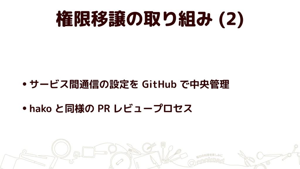 権限移譲の取り組み (2) •サービス間通信の設定を GitHub で中央管理 •hako と...