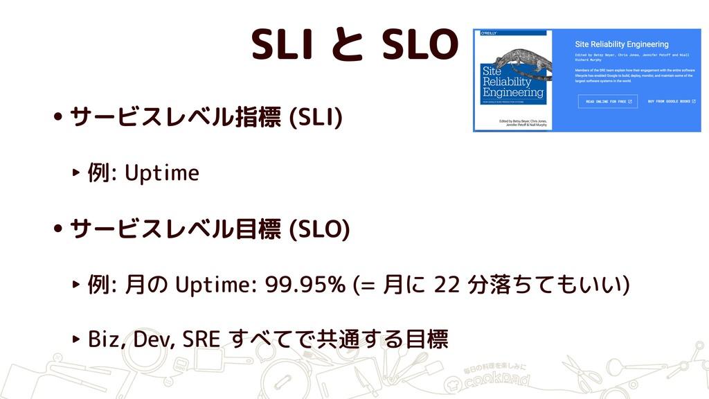 SLI と SLO •サービスレベル指標 (SLI) ‣ 例: Uptime •サービスレベル...