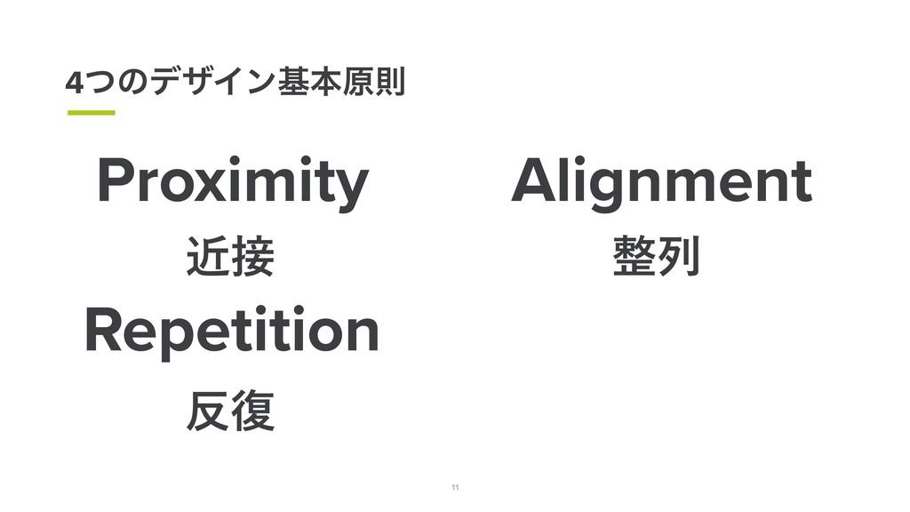 11 4ͭͷσβΠϯجຊݪଇ Proximity ۙ Alignment ྻ Repeti...