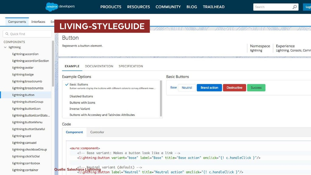 LIVING-STYLEGUIDE Quelle: Salesforce Lightning